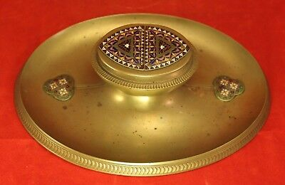 """Vintage Brass or Bronze & Enamel Champleve 8¼"""" Oval Inkwell"""