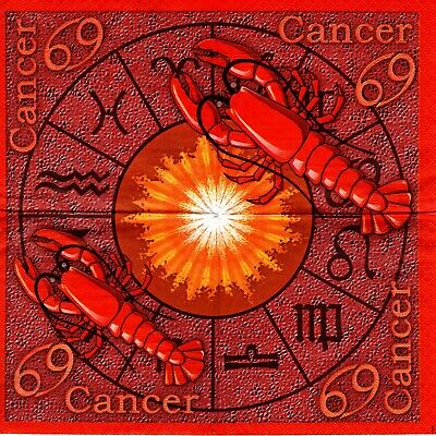 Serviettes En Papier Signe Astrologique Cancer. Paper Napkins Astrology Zodiac