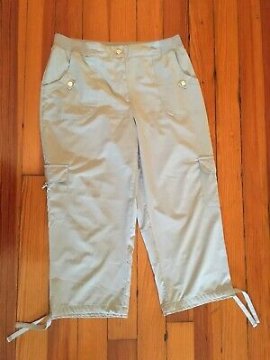 ZENERGY by CHICOS Gray Crop Cargo Pants Size 1 Small 8