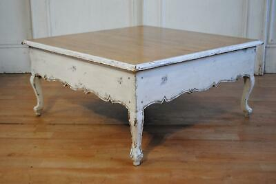 Large Vintage French Provincial Oak Coffee Table - Distressed Painted Louis