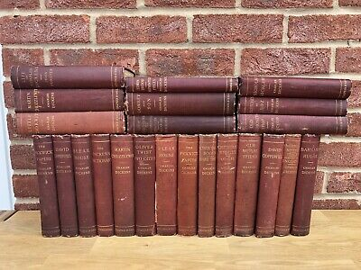 Collection of 23x Vintage CHARLES DICKENS Books Chapman and Hall - Antique Decor