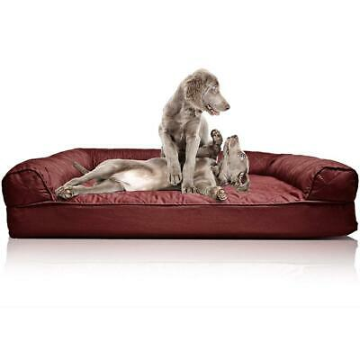 Furhaven Pet Dog Bed | Orthopedic Sofa-Style Living Jumbo, Quilted Wine Red