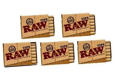 Raw Natural Unrefined Pre-Rolled Filter Tips 5 Pack (21 Per Box) of 5