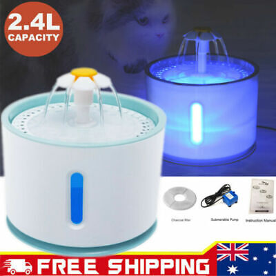 LED USB Automatic Electric Pet Water Fountain Dog Drinking Dispenser 2.4L EA