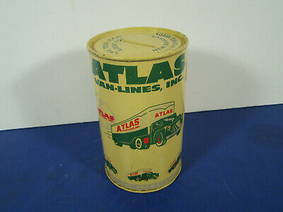 """Atlas Van-Lines Tin Advertising Bank 5"""" x 3"""" 1940's 50's With Coins RARE!!"""