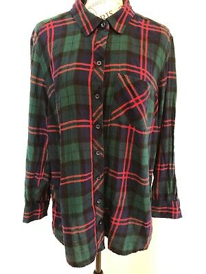 FADED GLORY Women's Plaid Multi Color Flannel Button Down Shirt Top Size 1X