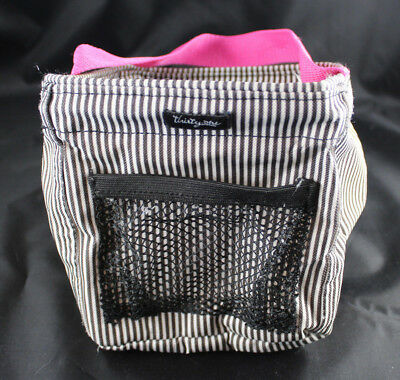 Thirty One Gift Mini Tote Utility Multi Brown Strip Pink Handle 31 Gifts Retired