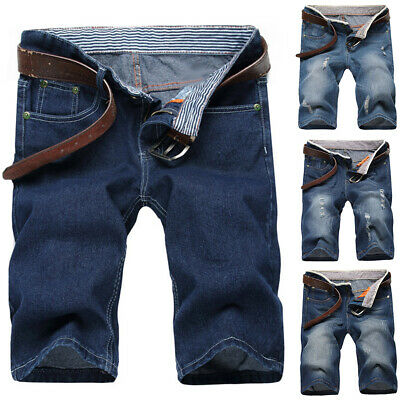 Men Simple Summer Ripped Straight Denim Shorts Jeans Destroyed Hole Pants Worthy