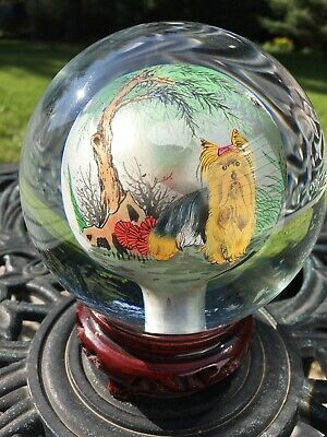 CHINA LARGE GLASS CRYSTAL BALL REVERSE HAND PAINTED ROTATING VTG CHINESE w STAND