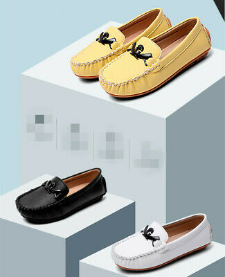 25-33 Kids Boys Girls Flat Loafers Leather Shoes Moccasins Boat Shoes Slip On