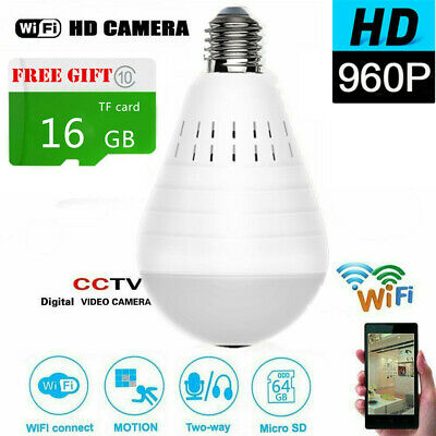 Mini Security IP Camera 360° Panoramic SPY Hidden 960P Wifi Wireless Light Bulb+