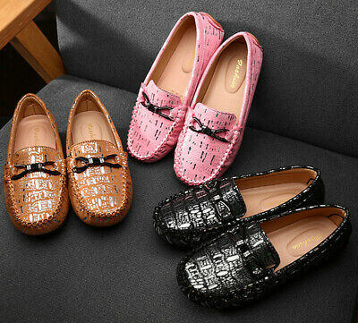 25-33 Kids Boys Girls Flat Loafers Oxford Leather Moccasins Boat Shoes Slip On