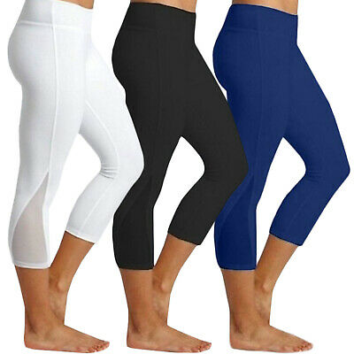 Womens Sports Yoga Compression Leggings Gym 3/4 Pants Stretch Cropped Bottoms AU