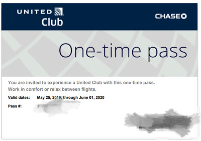 Two (2) UNITED CLUB PASSES Expiration June 01, 2020 - Immediate Email Delivery