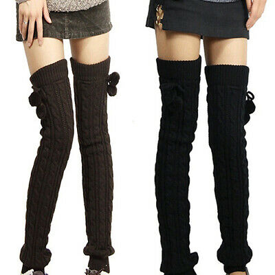 FT- Women Winter Crochet Knitted Stocking Footless Leg Warmers Thigh High Socks
