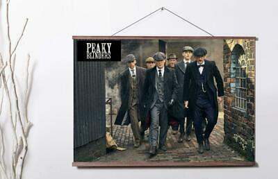 Peaky Blinders Series Characters Colour Movi Art Canvas poster with wood scroll