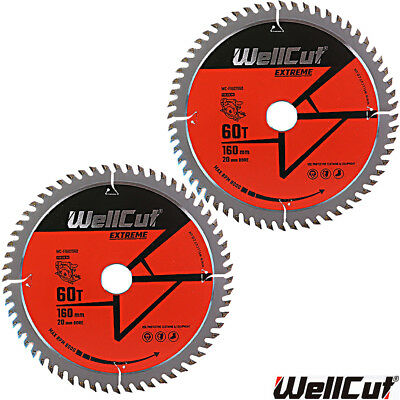 WellCut Extreme TCT Saw Blade 160mm x 60T x 20mm Bore For Festool TS55 Pack of 2