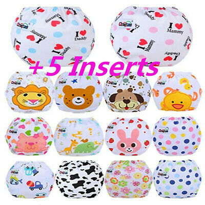5PCS+5 Inserts Cloth Diapers Lot Nappies Reusable For Choice to Baby Useful Chic