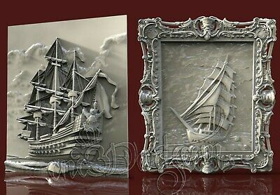 2 3D Models STL for CNC Router Artcam Aspire Ships Sea Panels Cut3D Vcarve