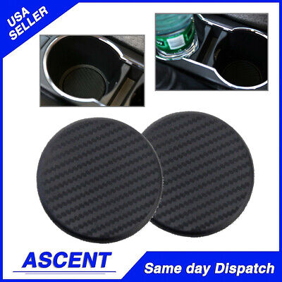 2xSilicone Water Bottle Drink Cup Holder Pad Mat Decoration Carbon Fiber For Car