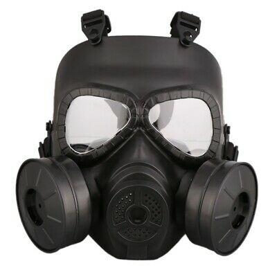 Black Airsoft Gas Mask CS Edition Perspiration Double Filter Fan Dust Face Guard