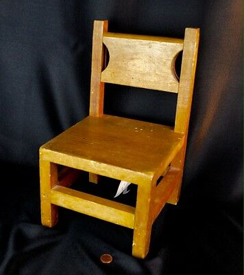Antique Primitive Child's Doll Toy Wooden Handmade Chair w/ Provenance