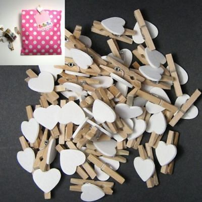 Ln_ 50Pcs Wooden Clips White Heart Mini Pegs Clothespin Diy Cute Wedding Decor