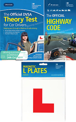 2019 Car Drivers Theory Test Book, Highway Code and 2 DVSA approved L-Plates