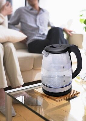 Cordless Electric Glass 1.7L Kettle LED Illuminated Blue Modern Kitchen Portable