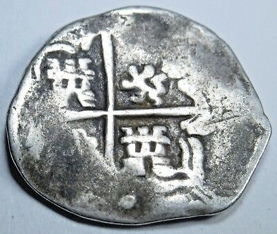 1600's Spanish Silver 2 Reales Piece of 8 Real Two Bits Pirate Cob Treasure Coin