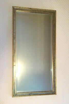 """Vintage Mid Century Hollywood Regency Faux Bamboo Gold Gilt Wall Mirror 20x37"""""""