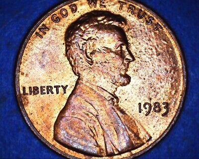 1983 D LINCOLN Cent Struck Through Grease Error Coin Penny Obverse