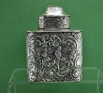 Antique sterling silver Tea Caddy Berthold Muller Chester 1909 L Neresheimer & C