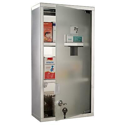 Metal Medicine Glass Cabinet Lockable First Aid Storage Wall Mounted 2 Shelves