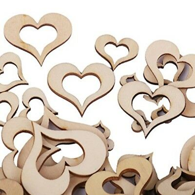 100pcs Hollow Heart Blank Wooden Embellishments for Wedding Party DIY Crafts