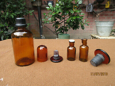 (B666) Altes 6er Glas Set aus Apotheke Labor