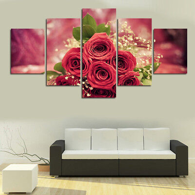 Ln_ Eg_ Unframed Rose Babysbreath Painting Canvas Pictures Home Room Diy Decor