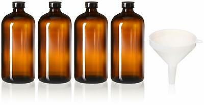 4 Pack - 32oz Boston Round Air Tight Seal Amber Glass Growler Kombucha Bottles