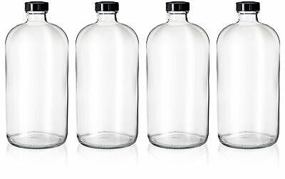 4 Pack - 32oz Boston Round Clear Glass Growler Bottles- with Phenolic Poly Cone