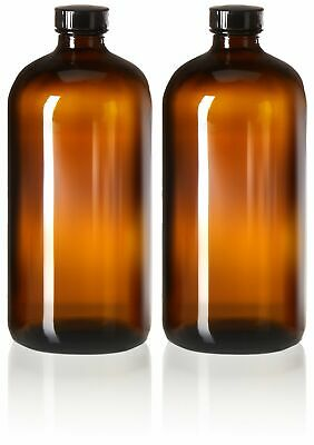 2 Pack - 32oz Boston Round Amber Glass Growler - with Phenolic Poly Cone Insert