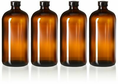 4 Pack - 32oz Kombucha Bottles - Boston Round Amber Glass Growler