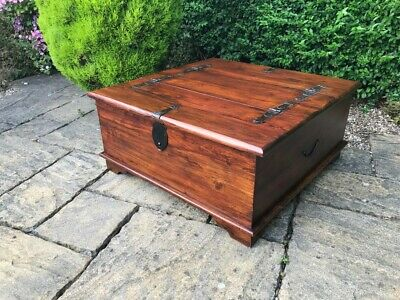 Large Coffee Table Storage Chest Solid Wood Shabby Chic Antique Style Vintage