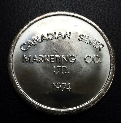 Scarce Vintage 1974 Canadian Silver Marketing Company 1oz silver round .999 Mint