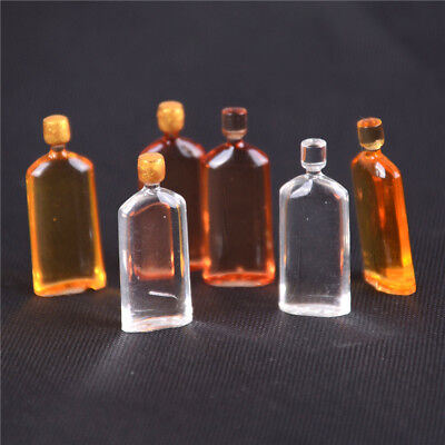 6x Dollhouse Miniature Wine Whisky Bottles Pub Bar Drink Accessory Mini GGK