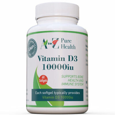 Vitamin D3 10000iu, 60 softgels,  increases absorption of calcium