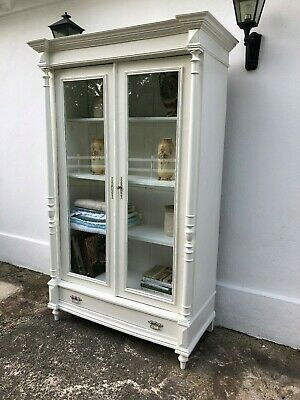 Antique 19th Century Continental Bibliotheque Bookcase Glass Display Cabinet