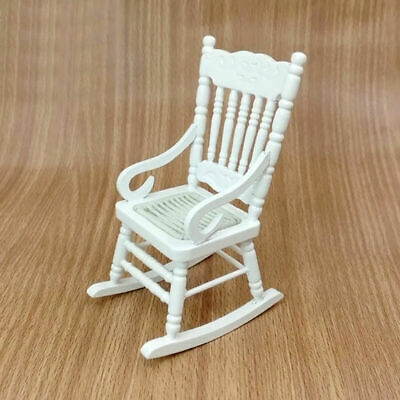 HOT White Wood Rocking Chair For 1:12 Doll House Miniature Room Tackle Livi V6K1