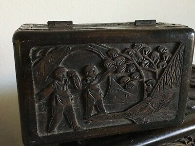 Old China Chinese Hand Carved Case Camphor Dark Wood Ornate Storage Box Vintage