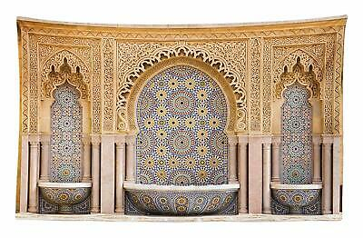 ABAKUHAUS Moroccan Tapestry Typical Moroccan Tiled Fountain in the City of Raba