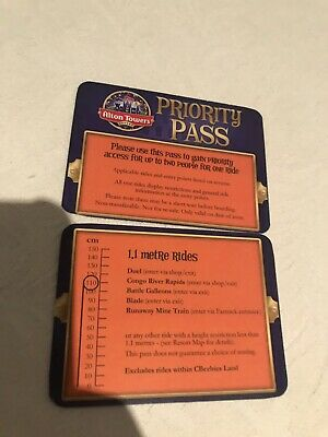 Alton Towers Priority Passes 2 tickets for height up to 1.1m only!!
